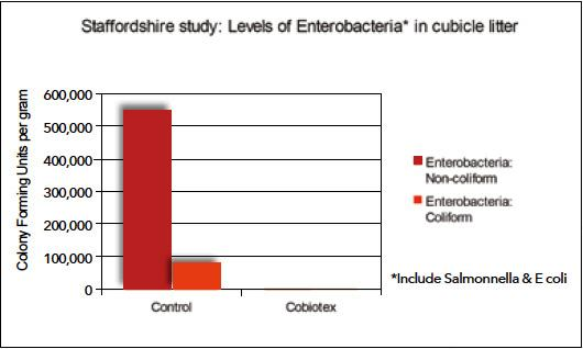 Cobiotex near total elimination of Enterobacteria, a group that includes Salmonella and E coli